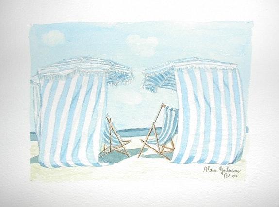 Aquarelle originale - cabines de plage - signee du peintre - encadree. Alain Guilmeau Mauguil