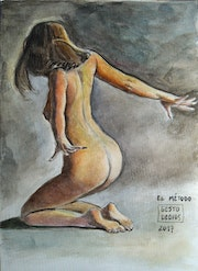 The method - watercolour, woman, nude, original art, painting, drawing girl.