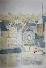 Aquarelle originale - le port de Honfleur - signee du peintre - encadree.