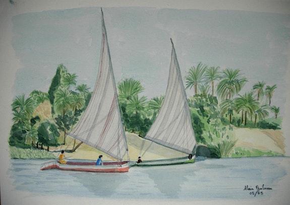 Aquarelle originale - felouques sur le nil - signee du peintre - encadree. Alain Guilmeau Mauguil