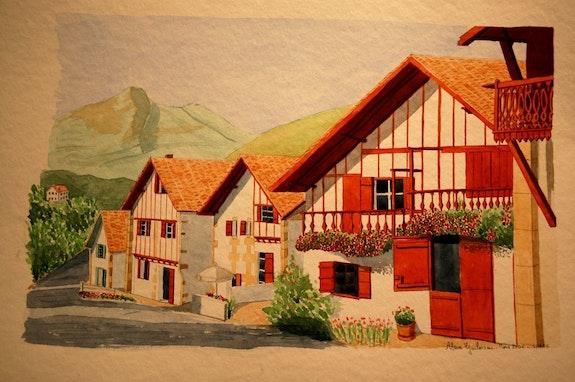 Aquarelle originale - village de sare - signee du peintre - encadree. Alain Guilmeau Mauguil