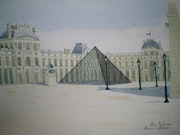 Aquarelle originale - pyramide du louvre - signee du peintre - encadree.