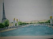 Aquarelle originale - pont alexandre III - signee du peintre - non encadree.