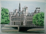 Aquarelle originale - hotel de ville de paris - signee du peintre - non encadree.