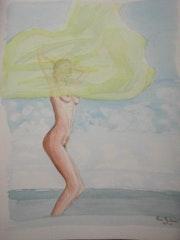 Aquarelle originale - Nu - signee du peintre - non encadrée.