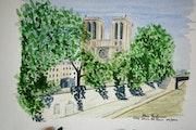 Aquarelle originale - Notre Dame de Paris - signee du peintre - non encadree.