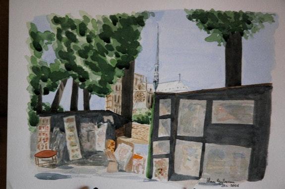 Aquarelle originale - Les Bouquinistes - signee du peintre - non encadrée. Alain Guilmeau Mauguil