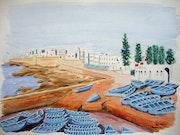 Aquarelle originale - Essaouira - signee du peintre - non encadrée.