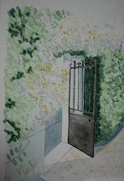Aquarelle originale - Portillon - signee du peintre - encadree.