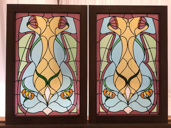 Pair of stained glasses art nouveau.  Malander