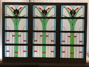 Set of 3 art deco stained glasses.
