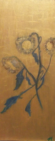 Sunflowers on Wood. Michela Curtis