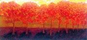 Árboles frondosos con hojas rojas y amarillas..