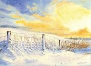 Cloture sous la neige.