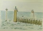 Aquarelle originale - Capbreton L'Estacade - signee du peintre - non encadree.