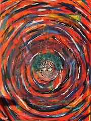 Nacimiento - Acrílico abstracto sobre lienzo 50 X 80 cm.