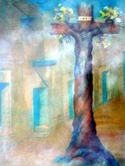 Cristo de Tejamen Categoria: Pintura Técnica: Oleo Soporte: Papel 57 X 89 cm..