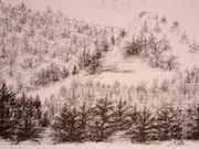 Paysage de neige a la montagne.