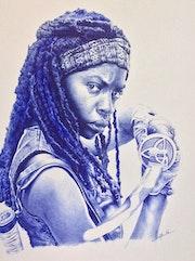 Portrait de Michonne de la série « Thé Walking Dead »..