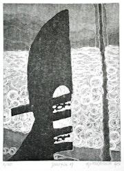 Venezia 19 (1986) Gondelschwert vor dem Wasser des Canal grande. Hajo Horstmann