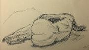 Modéle de dos, alongée sur le coté.