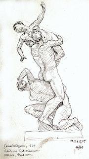 Raub der Sabinerin 3, Florenz (2005) Bleistift-Zeichnung. Hajo Horstmann
