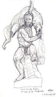Herkules und der Eber, Florenz (2005) Bleistift-Zeichnung. Hajo Horstmann