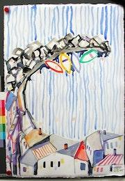 Vernazza, Cinque Terre (1995) Aquarell-Skizze. Hajo Horstmann