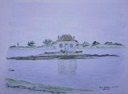 Aquarelle originale - Saint-Cado (Morbihan) - signee du peintre - non encadree.