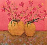 Red Blooms in Golden Vases. Michela Curtis