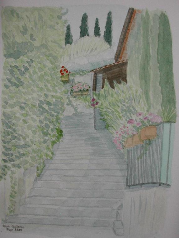 Aquarelle originale - Escalier fleuri - signee du peintre - non encadree. Alain Guilmeau Mauguil
