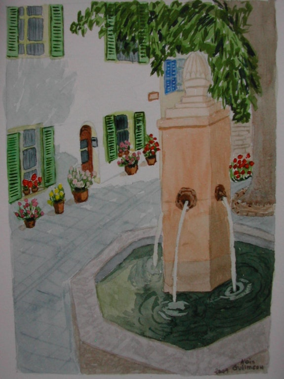 Aquarelle originale - Fontaine en Provence - signee du peintre - non encadree. Alain Guilmeau Mauguil
