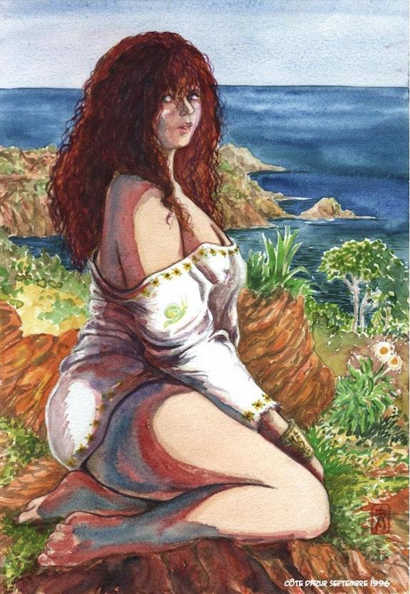 Femme à genoux vêtue d'une tunique blanche. Serge Mogère Serge Mogère