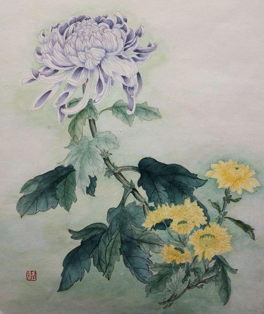 Le chrysanthème mauve.  Magdeleine Parisot