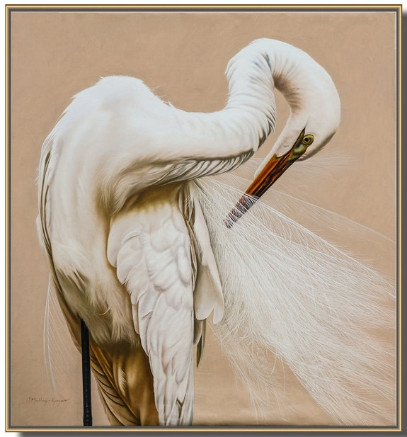 «Emperor» Original oil painting of the beautiful Great White Egret. O'malley-Keyes O'malley-Keyes Fine Art