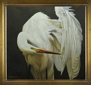 «Monarchs Bow» Original oil painting of Great White Egret.