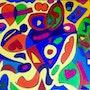 «Rio » art naif abstrait contemporain moderne sur toile 80x60.