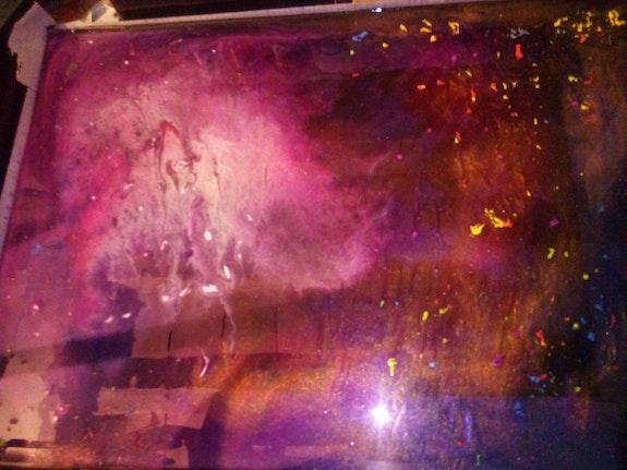 Tableau sur ver en resine epoxy. Rotillon Eddy Dydy