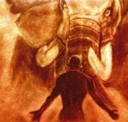 Africain face à l'éléphant.