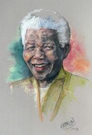 Portrait de Nelson Mandela au pastel.