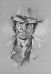 Portrait de Charles Bronson au fusain.
