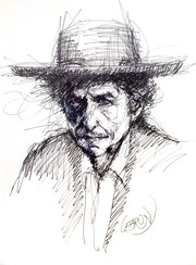 Portrait de Bob Dylan au feutre. Paul Lebrun