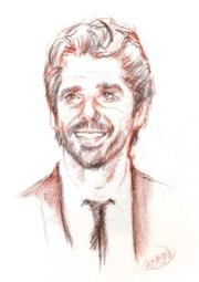 Portrait de Patrick Fiori à la sanguine. Paul Lebrun