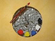 Horloge murale en mosaïque. Mosaïstik
