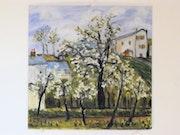 Arbre en fleurs d'après Camille Pissaro.