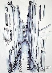 Kleiner Kanal in Venedig (1986). Tuschezeichnung. Hajo Horstmann