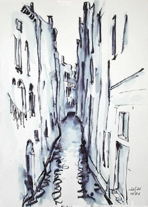 Kleiner Kanal in Venedig (1986). Tuschezeichnung. Hajo Horstmann Hajo Horstmann