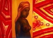 Femme africaine aux motifs géométriques. Anita De Martini