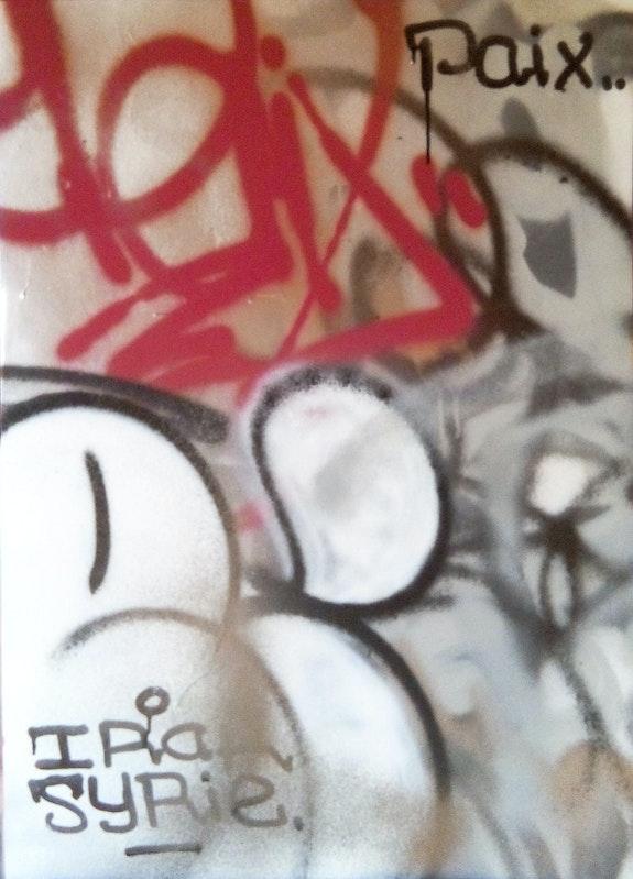Paix en Irak et Syrie / Aérosol et encre sur carton / 50x70cm. Emmanuel Brejon Emmanuel Brejon