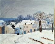 Village sous la neige d'après Sisley.